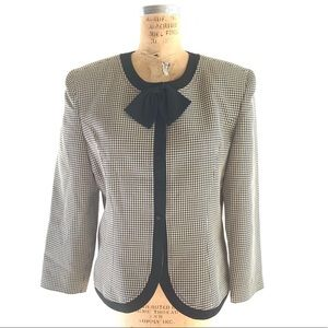 Houndstooth Jacket with Bow